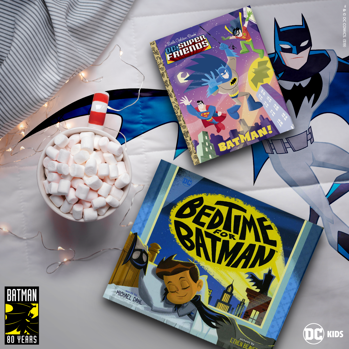 Batman picture books on a bed